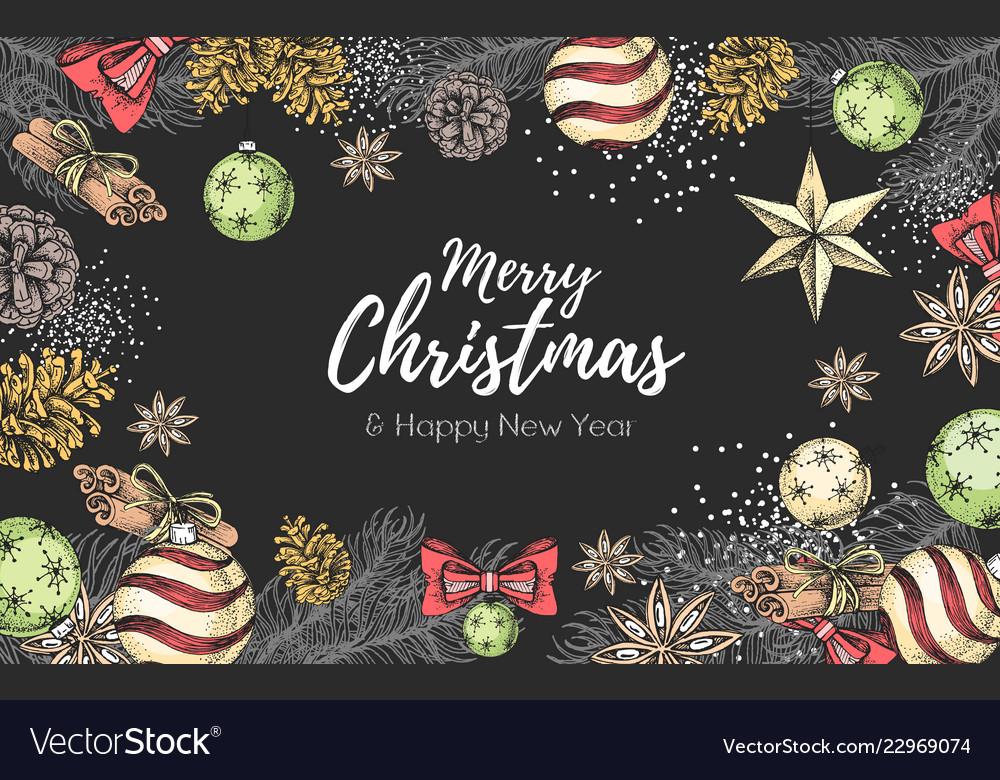 Christmas Holiday Hand Drawign Poster Royalty Free Vector