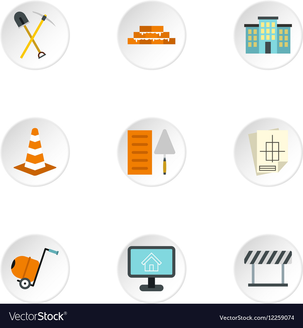 Construction tools icons set flat style vector image