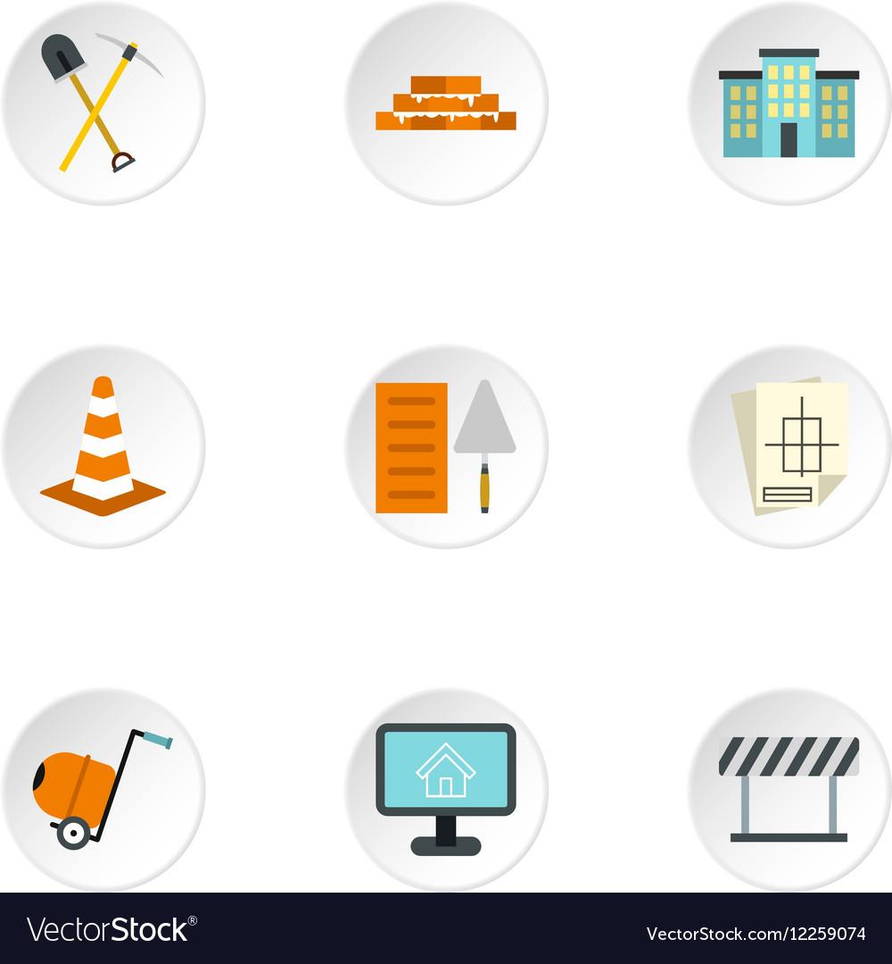 Construction tools icons set flat style