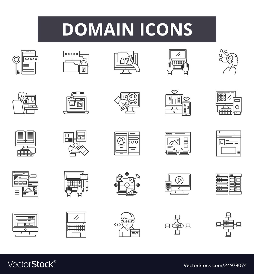 Domain line icons signs set outline