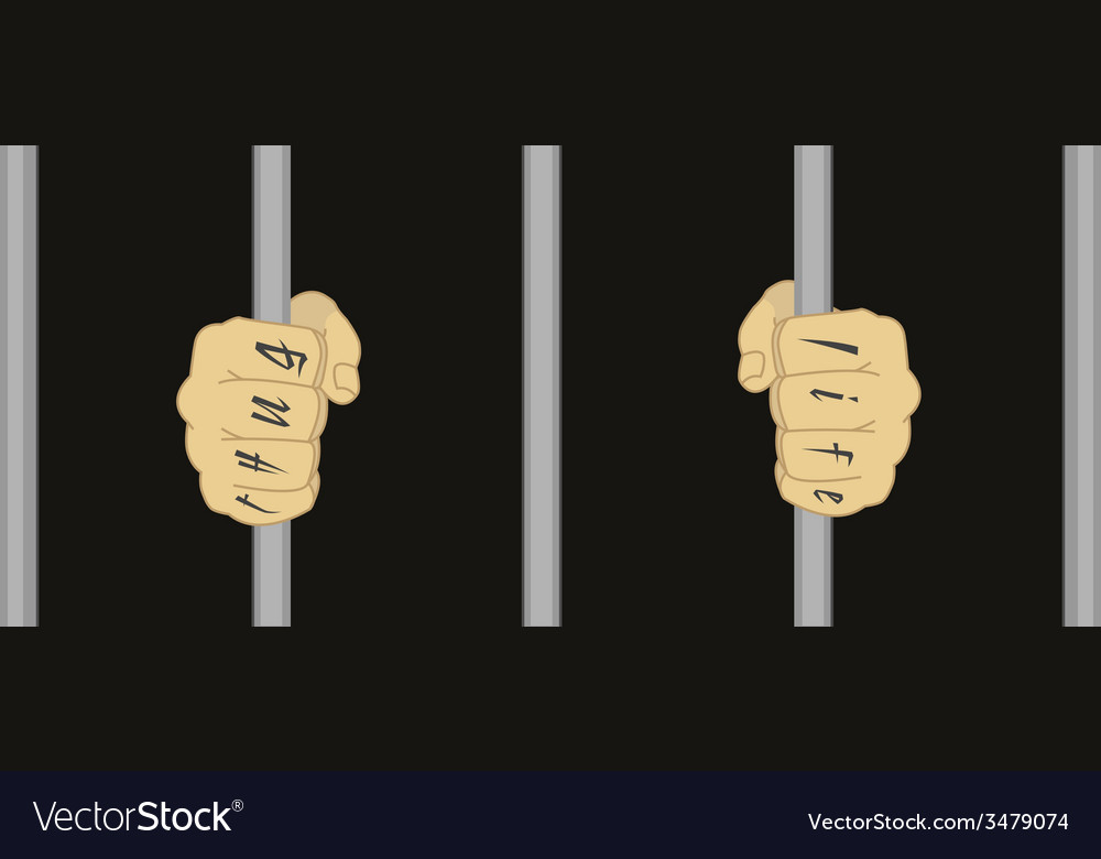 Hands with tattoo holding prison bars vector image