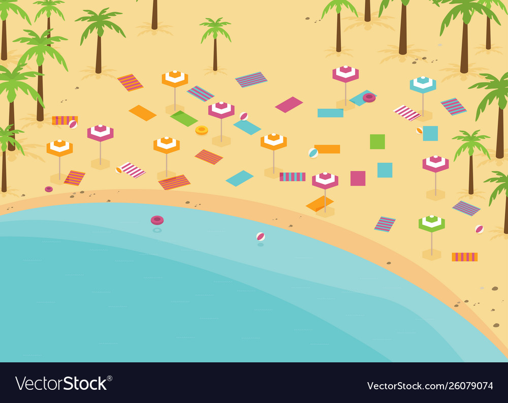 Isometric beach with swimming places flat