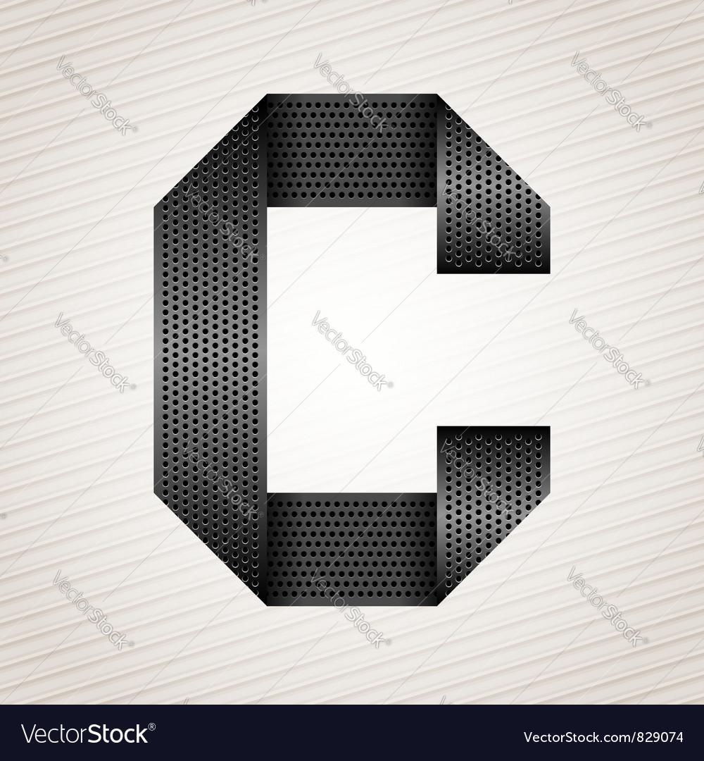 Letter metal ribbon - C vector image