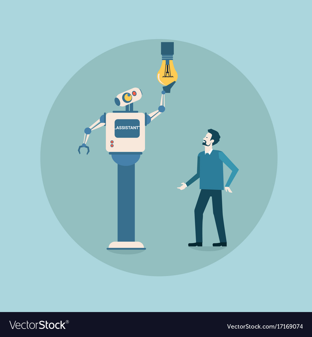 Modern Robot Changing Light Bulb Futuristic Vector Image Wiring A