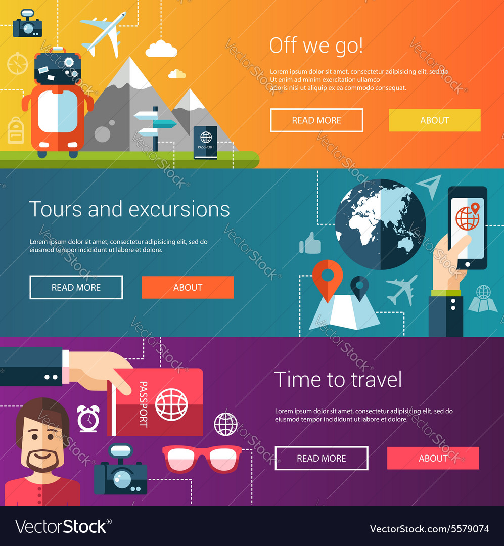 Set of flat design flyers and headers with travel vector image