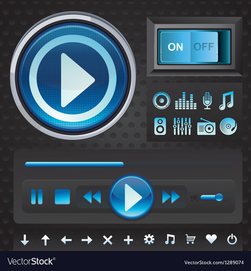 Set with interface design elements for music playe