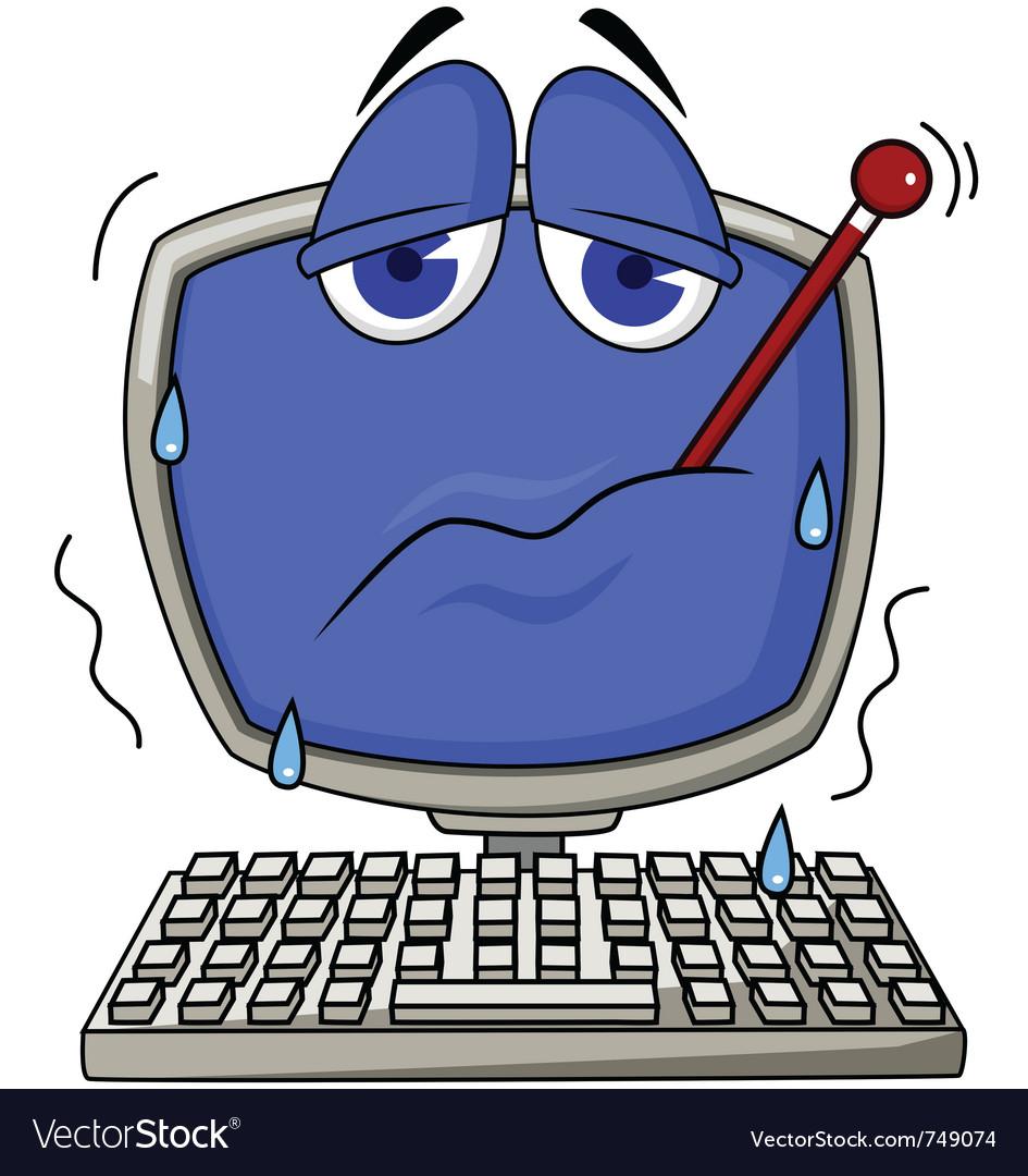 Sick computer vector image