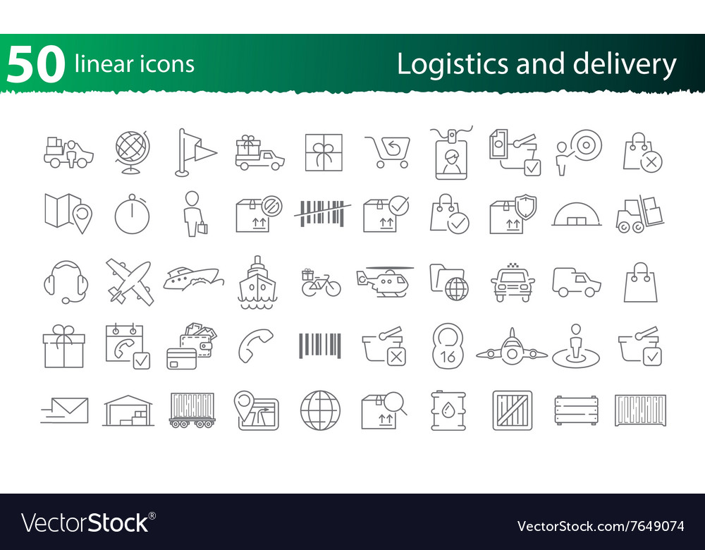 Thin line logistics and delivery set