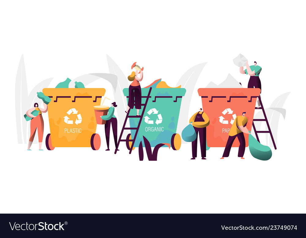 Trash recycling industrial concept people