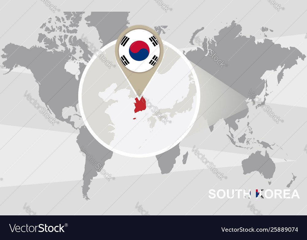 World map with magnified south korea