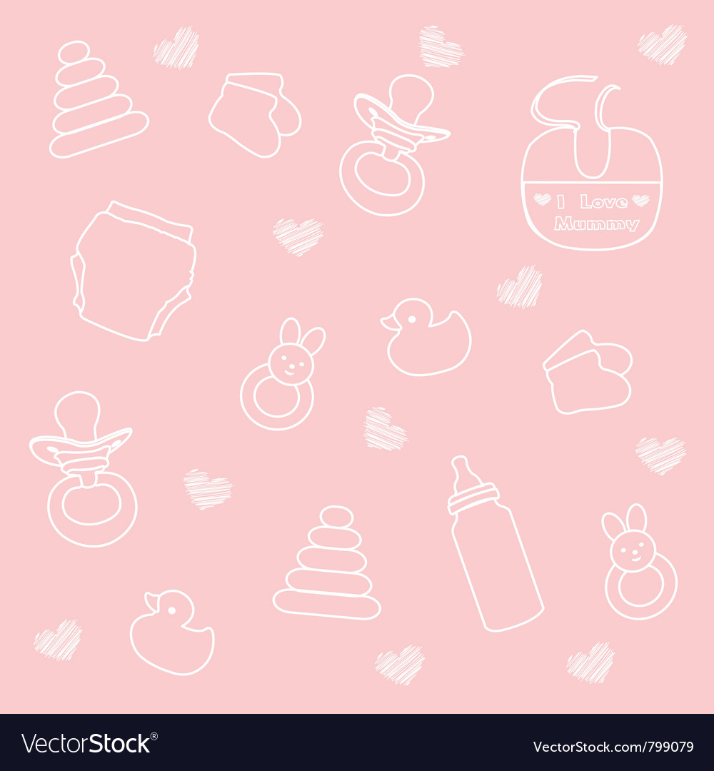 Delightful Baby Girl Elements Pink Background Vector Image