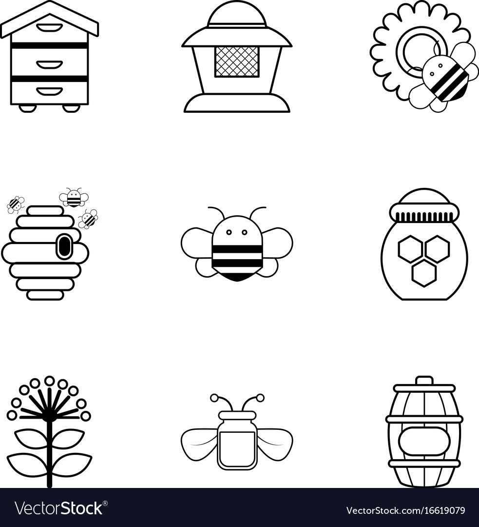 Beekeeping icons set outline style