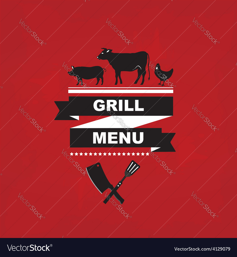 Cafe menu grill template design
