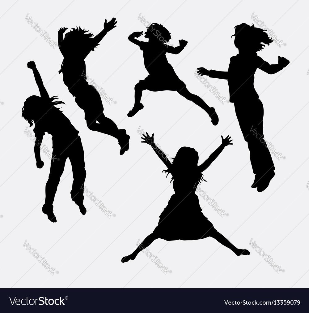 Children happy action silhouette vector image