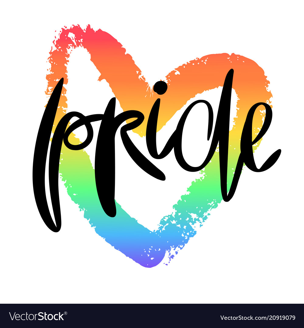 Conceptual poster with lettering and rainbow heart