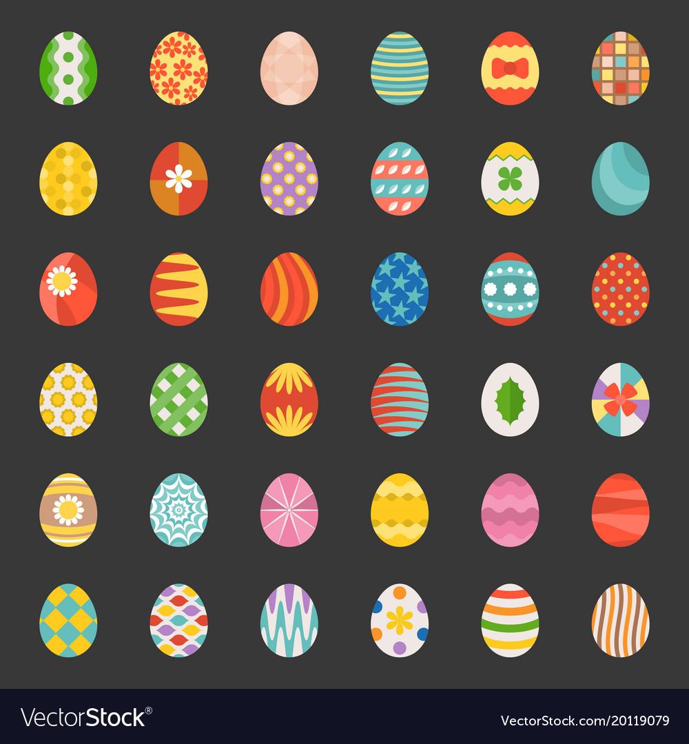 Easter eggs set 3 flat design