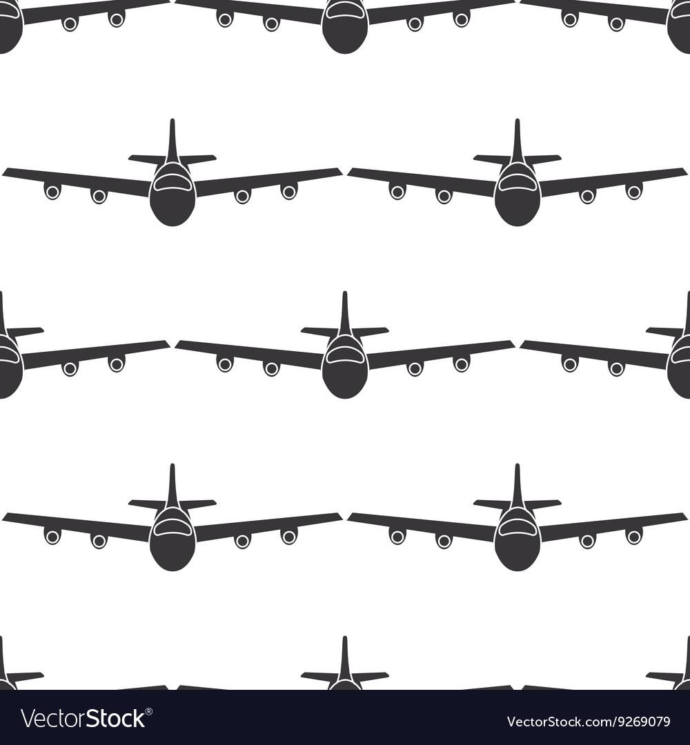 Flat airplane seamless pattern