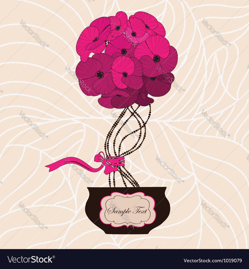 Flower bouquet in cute flowerpot