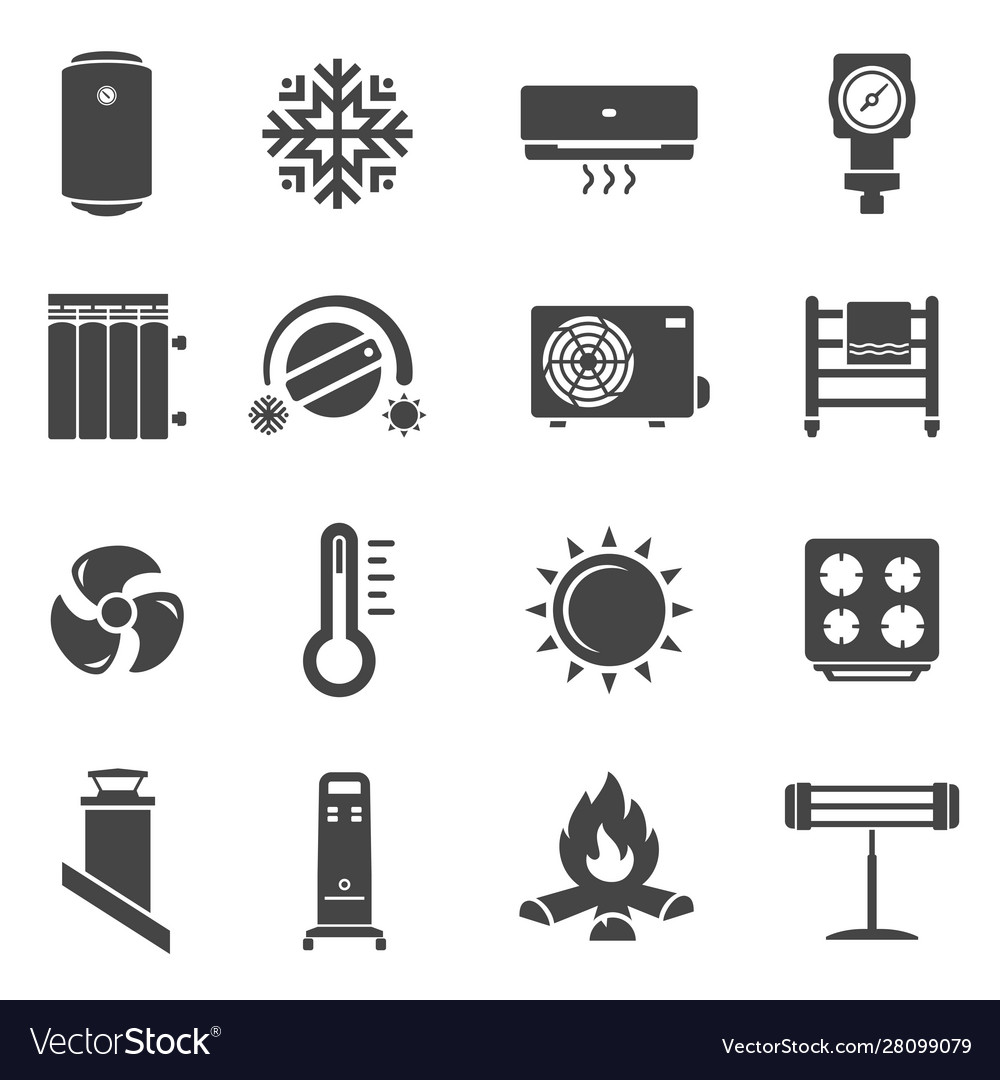 Heating system black glyph icons set