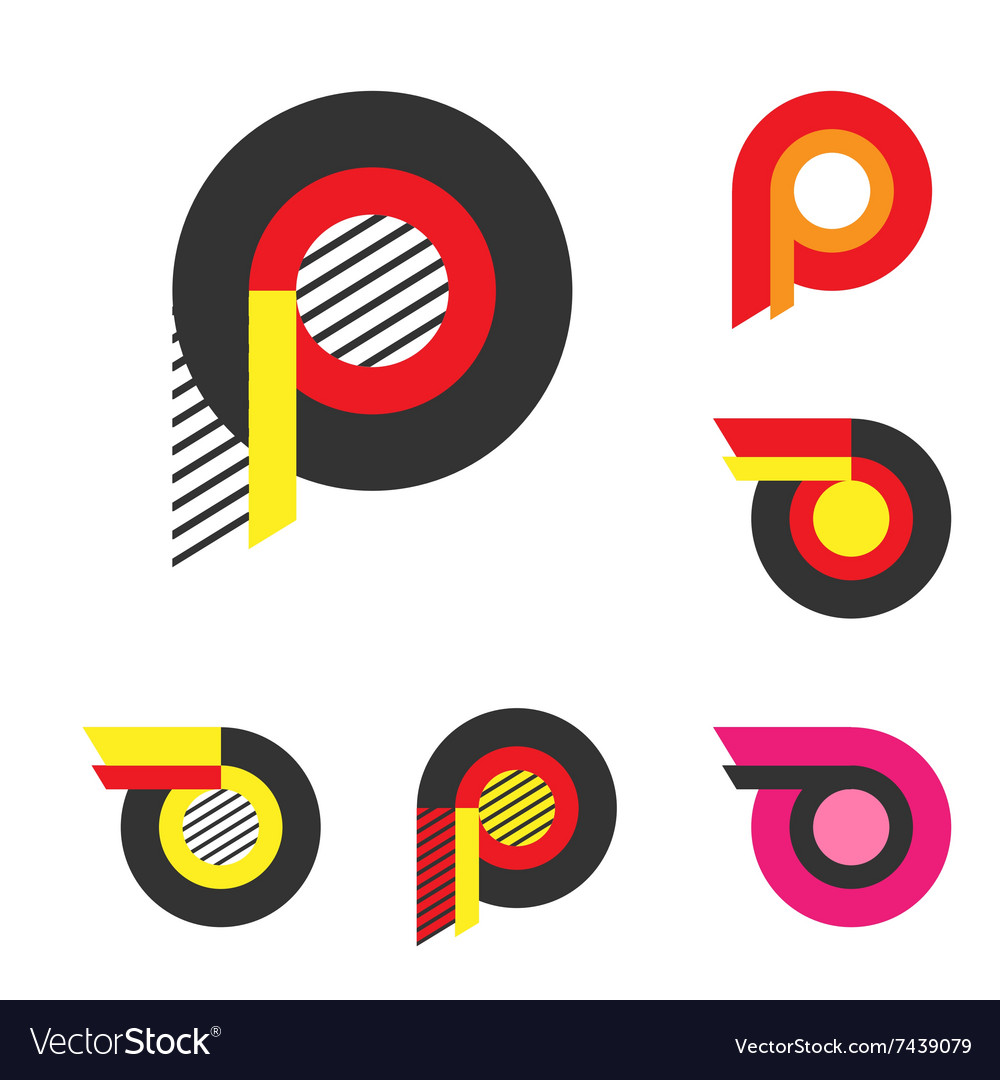 Letter P Or Wheel With Fire Logo Minimalism Art