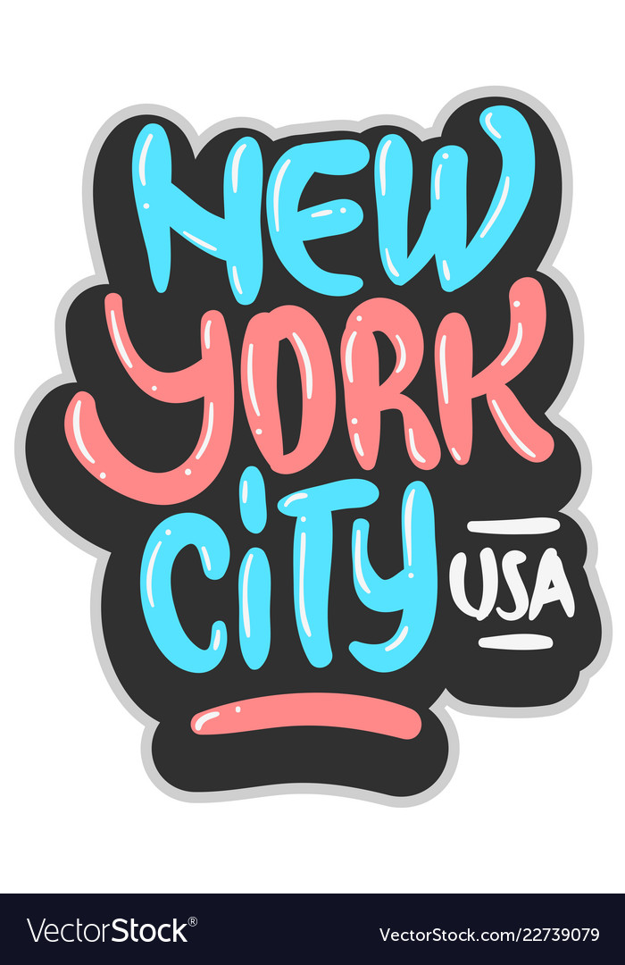 New york city usa graffiti influenced label sign