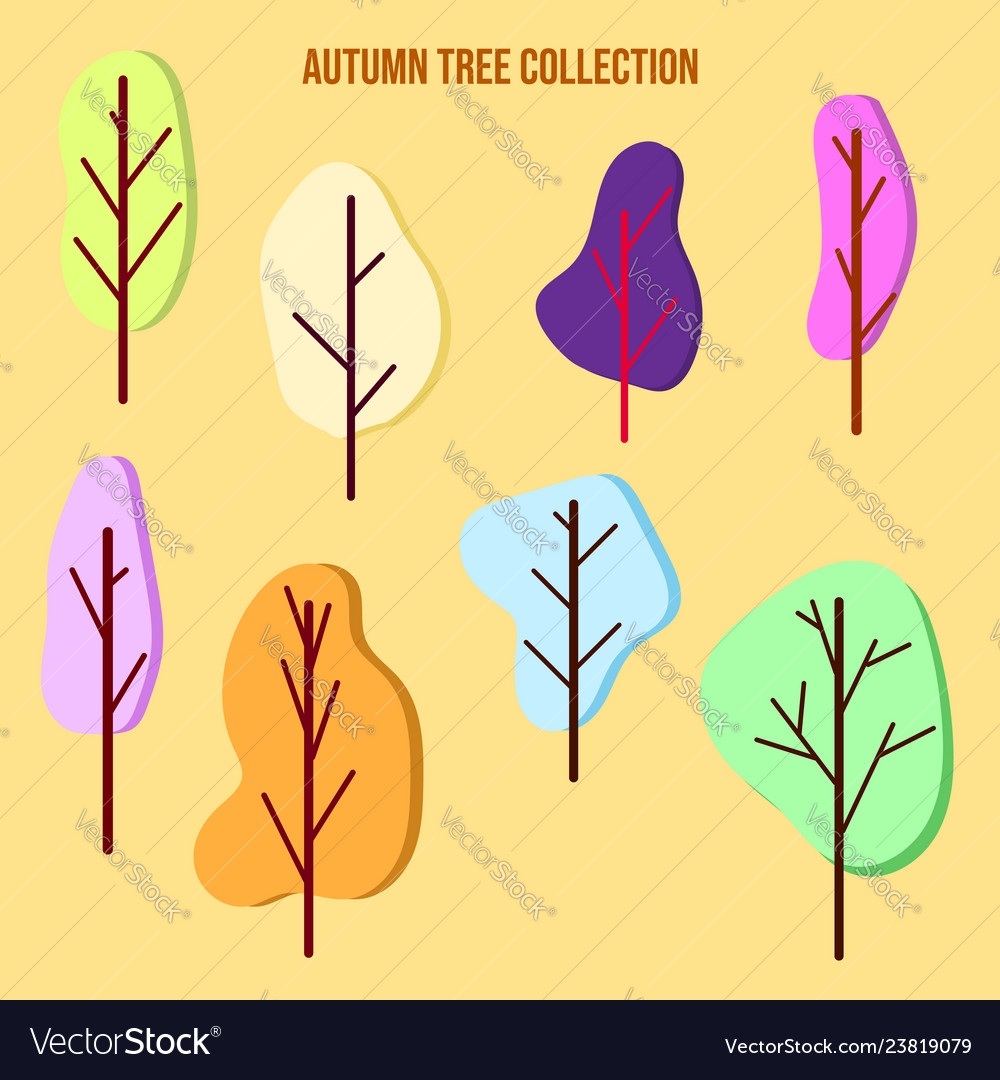 Set of color trees in a flat style