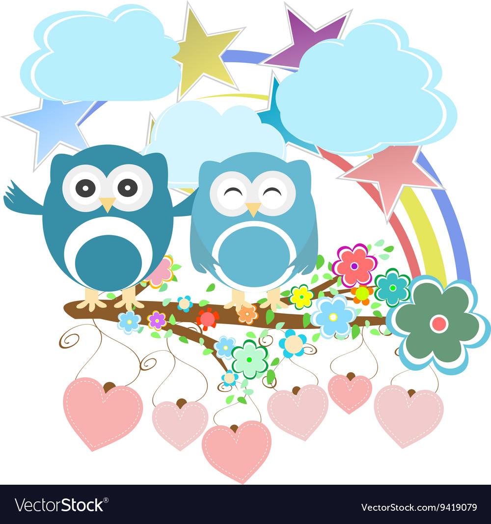 Set - owls birds flowers sky cloud