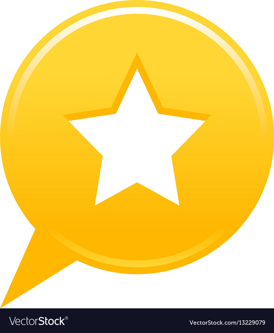 yellow map pin favorite icon white star sign vector image