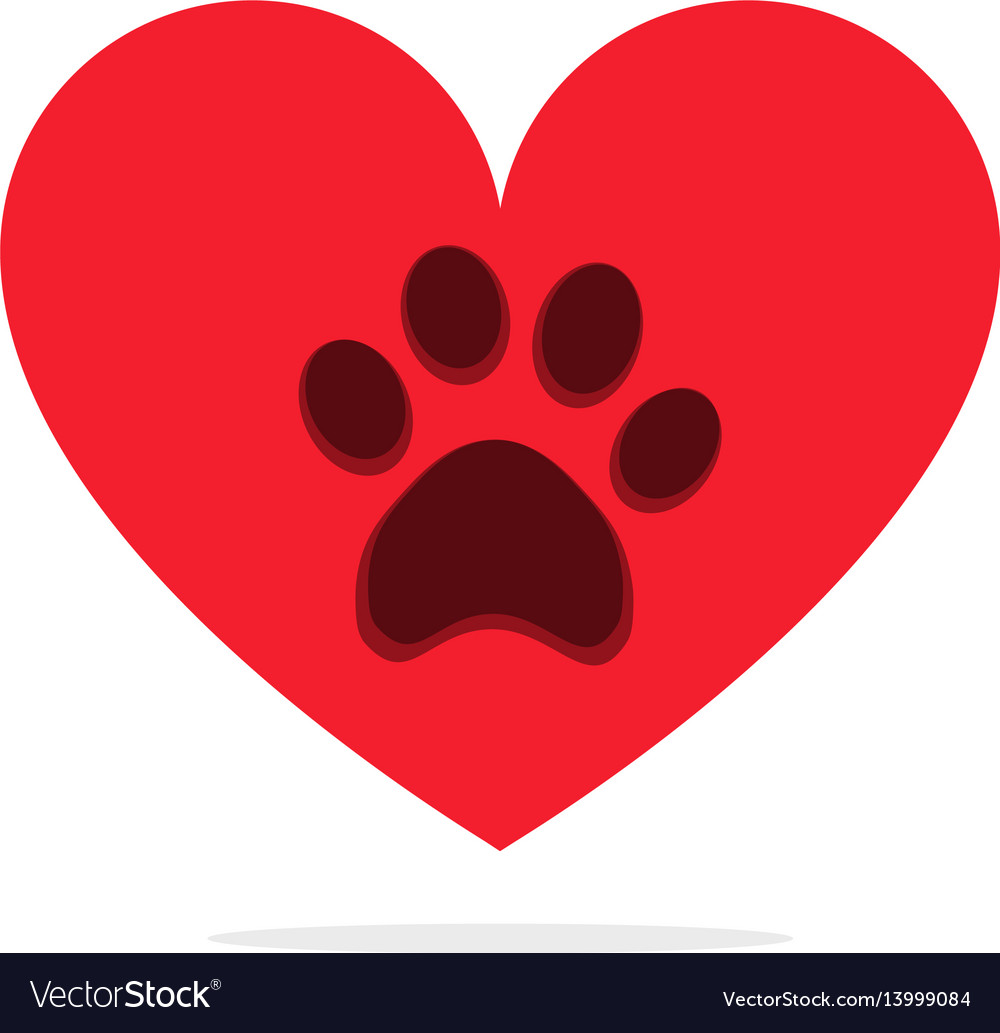 Animal paw in heart isolated on white love animals