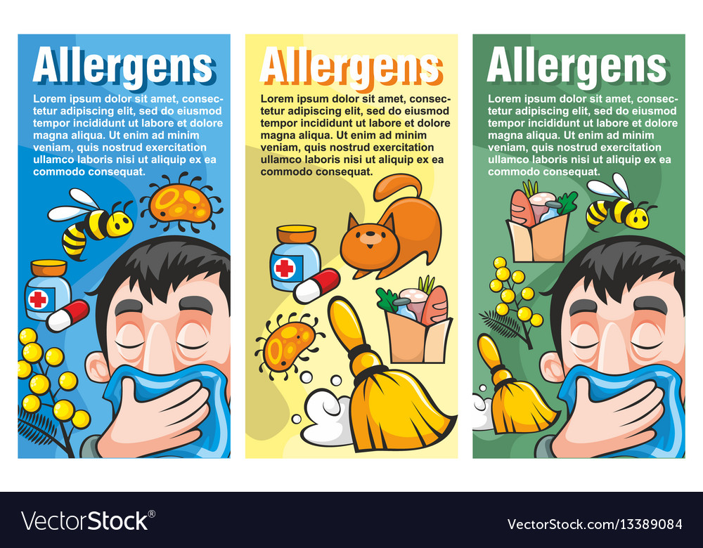 Cartoon colorful allergy vertical banners