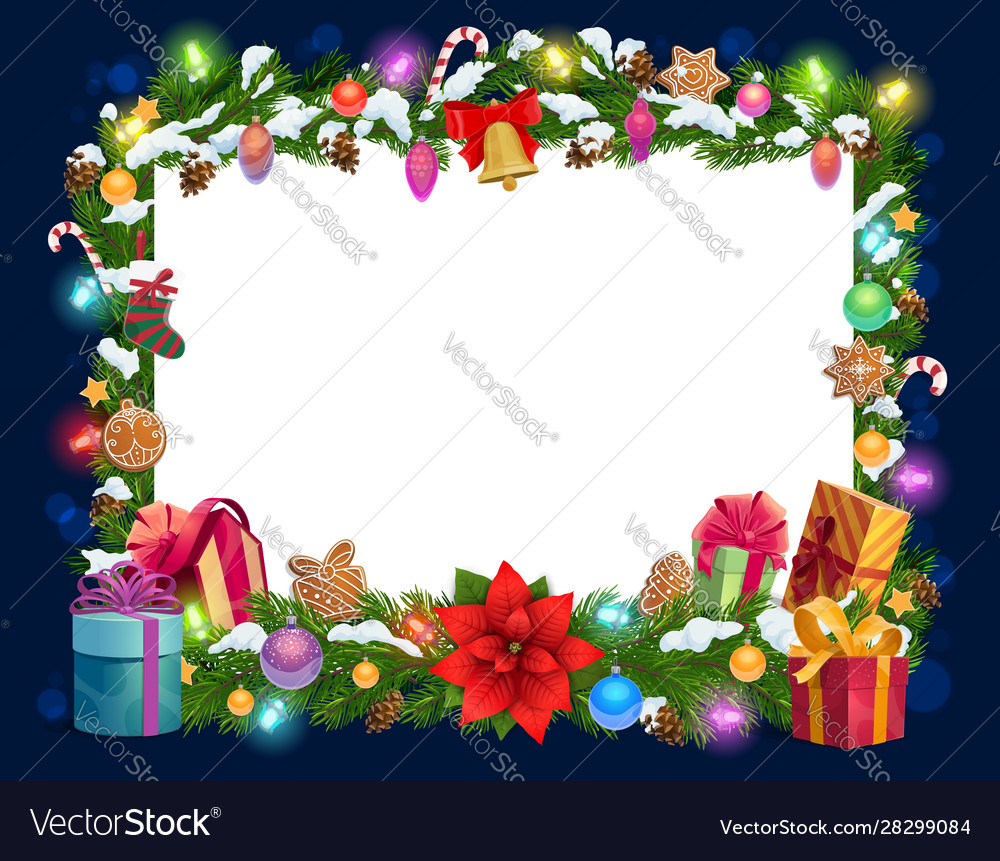 christmas decorations frame blank paper template vector image