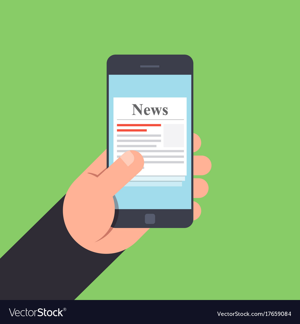 News on mobile phone in hand
