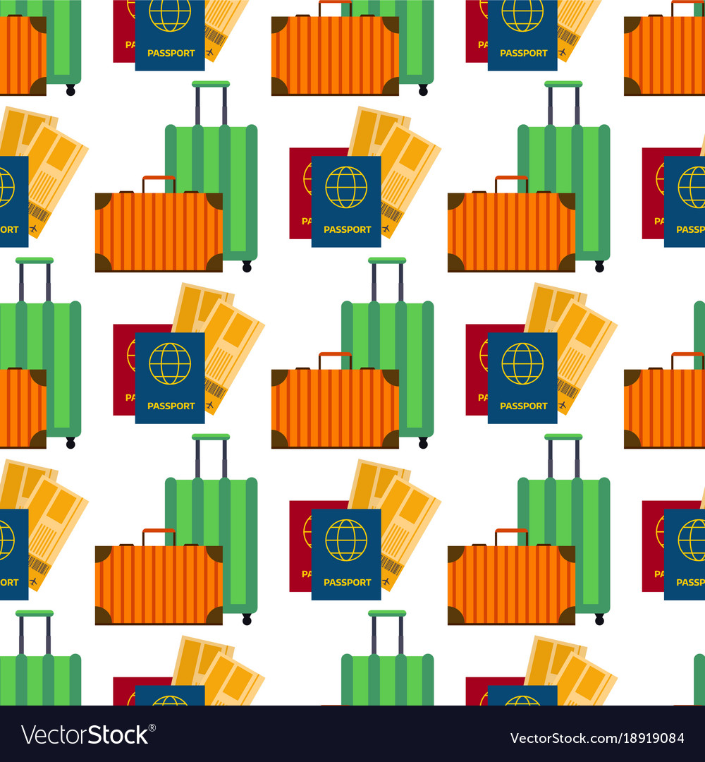 Passport with tickets air travel suitcase flat