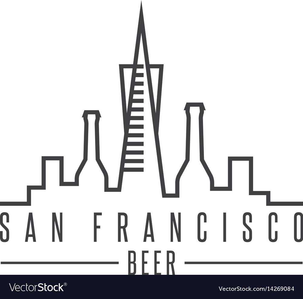 San francisco skyline with beer bottles design