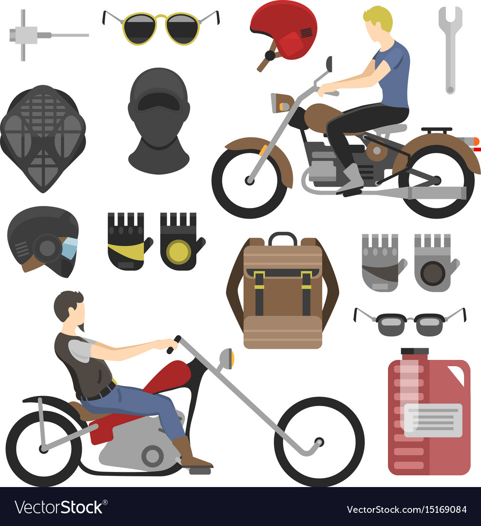 Two motorcyclist with accessories set helmets