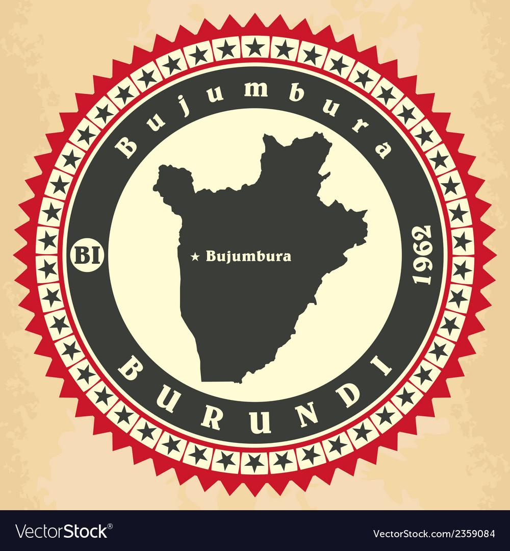 Vintage label-sticker cards of Burundi