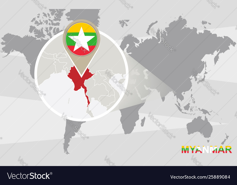 World Map With Magnified Myanmar Royalty Free Vector Image