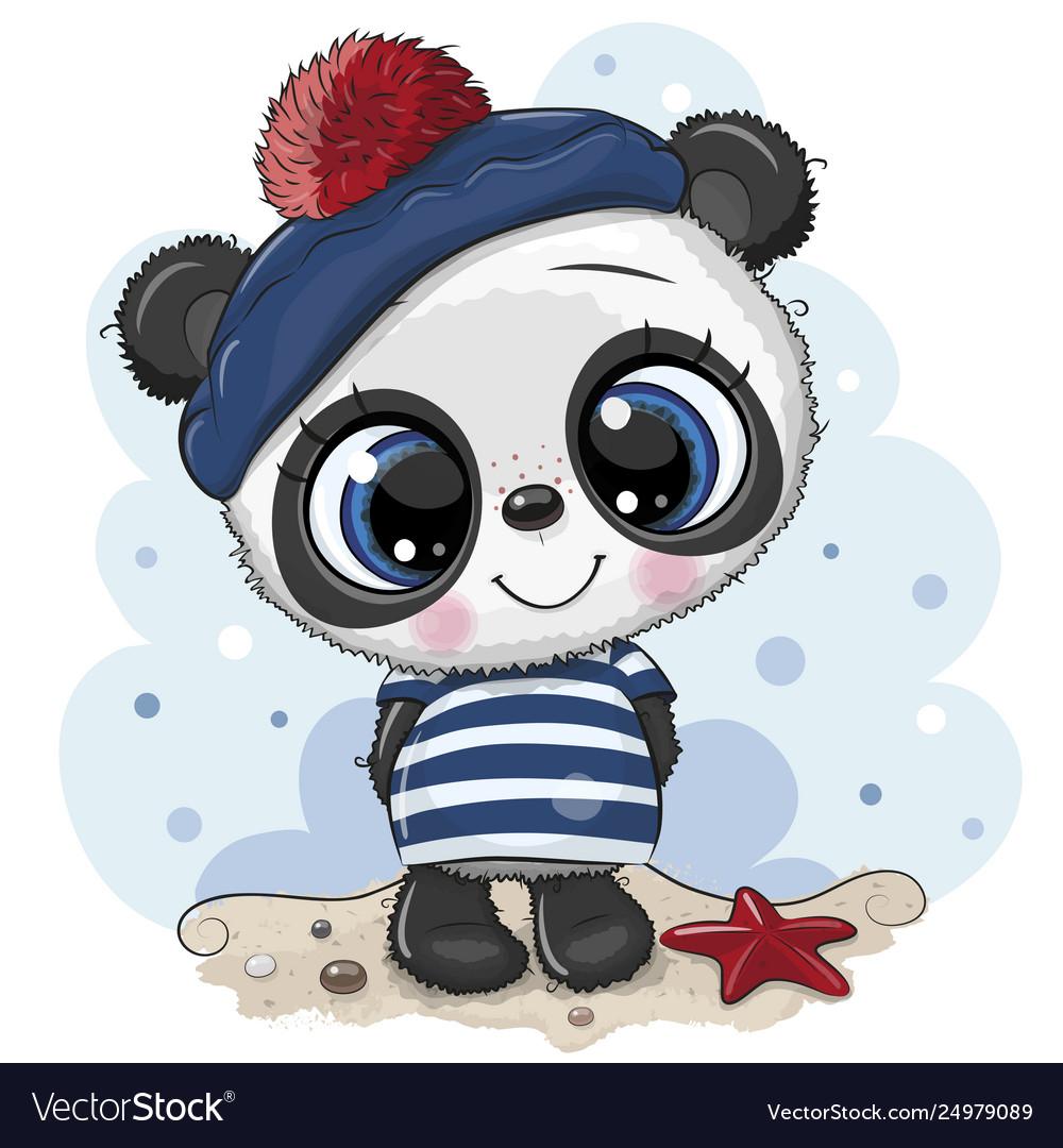 Bacartoon panda in sailor costume