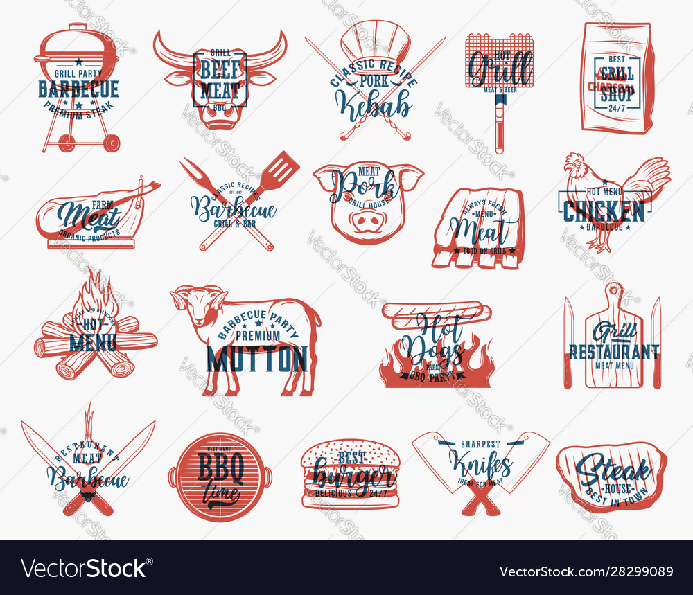 Barbecue food charcoal grill and bbq tool icons