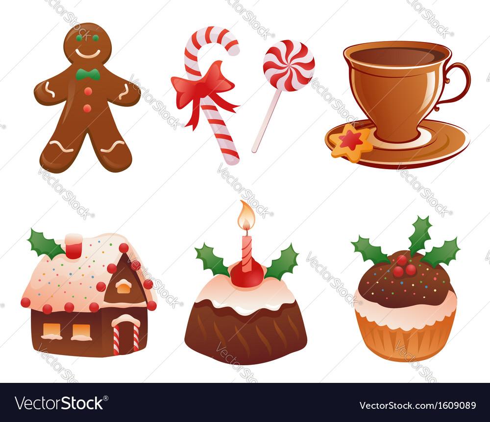 Christmas desserts vector image