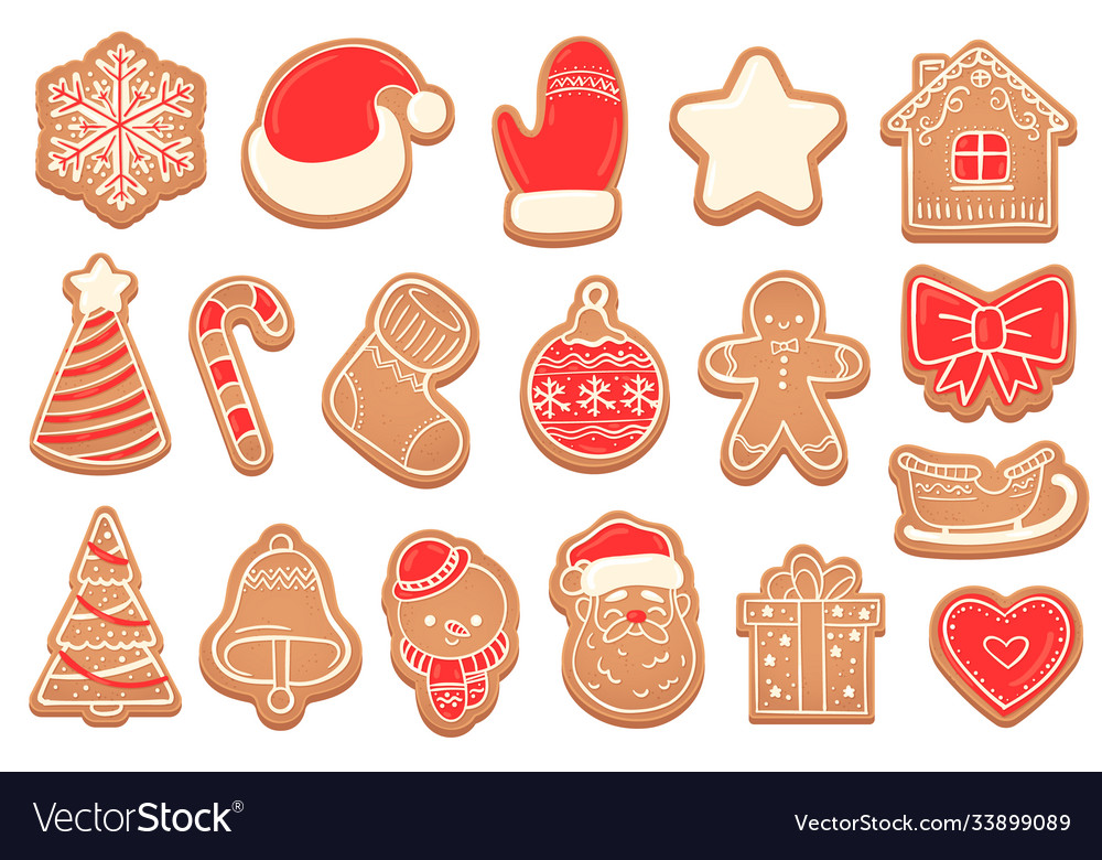 Gingerbread christmas cookies new years bell