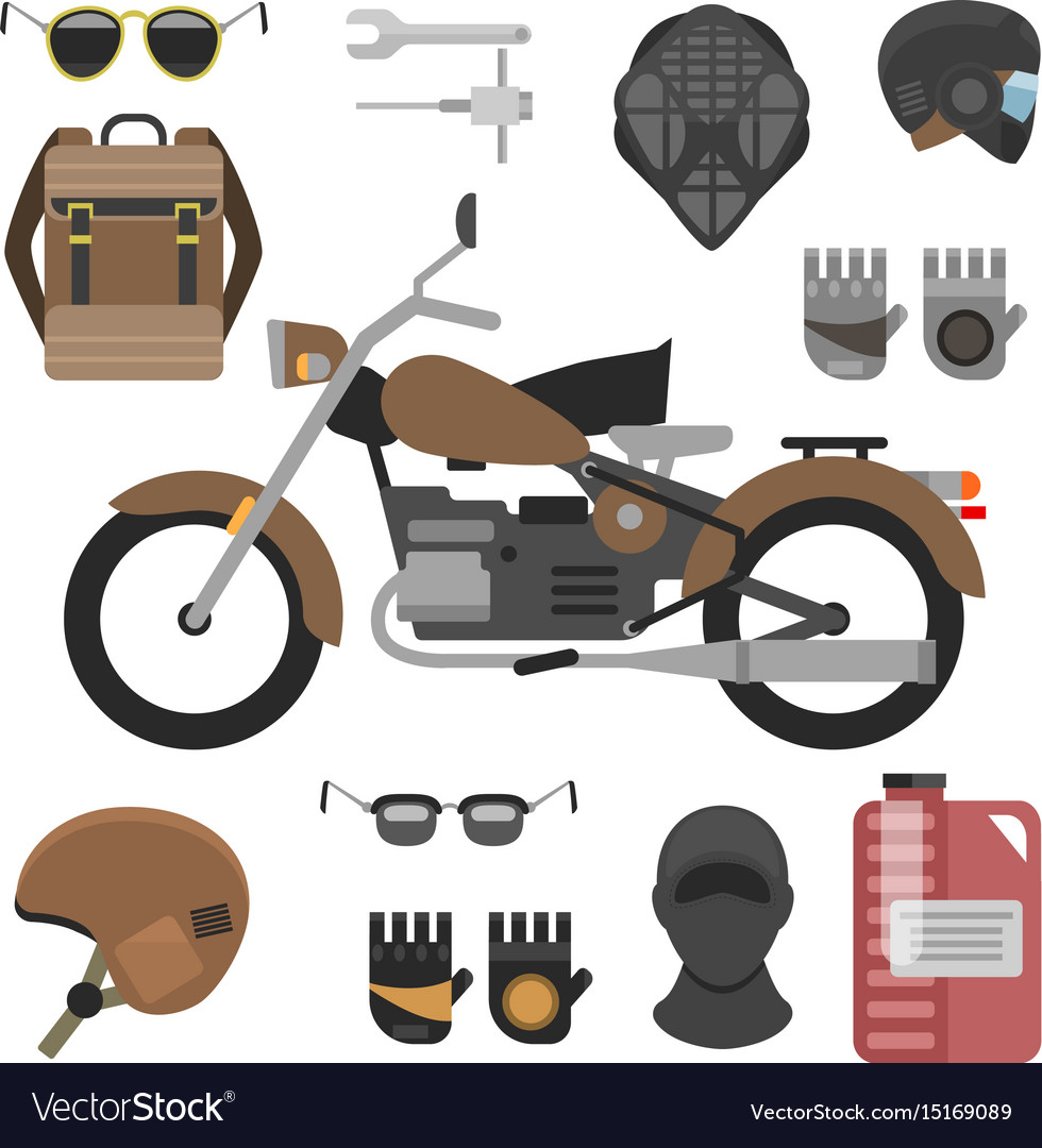 Motorcycle with accessories set helmets backpack