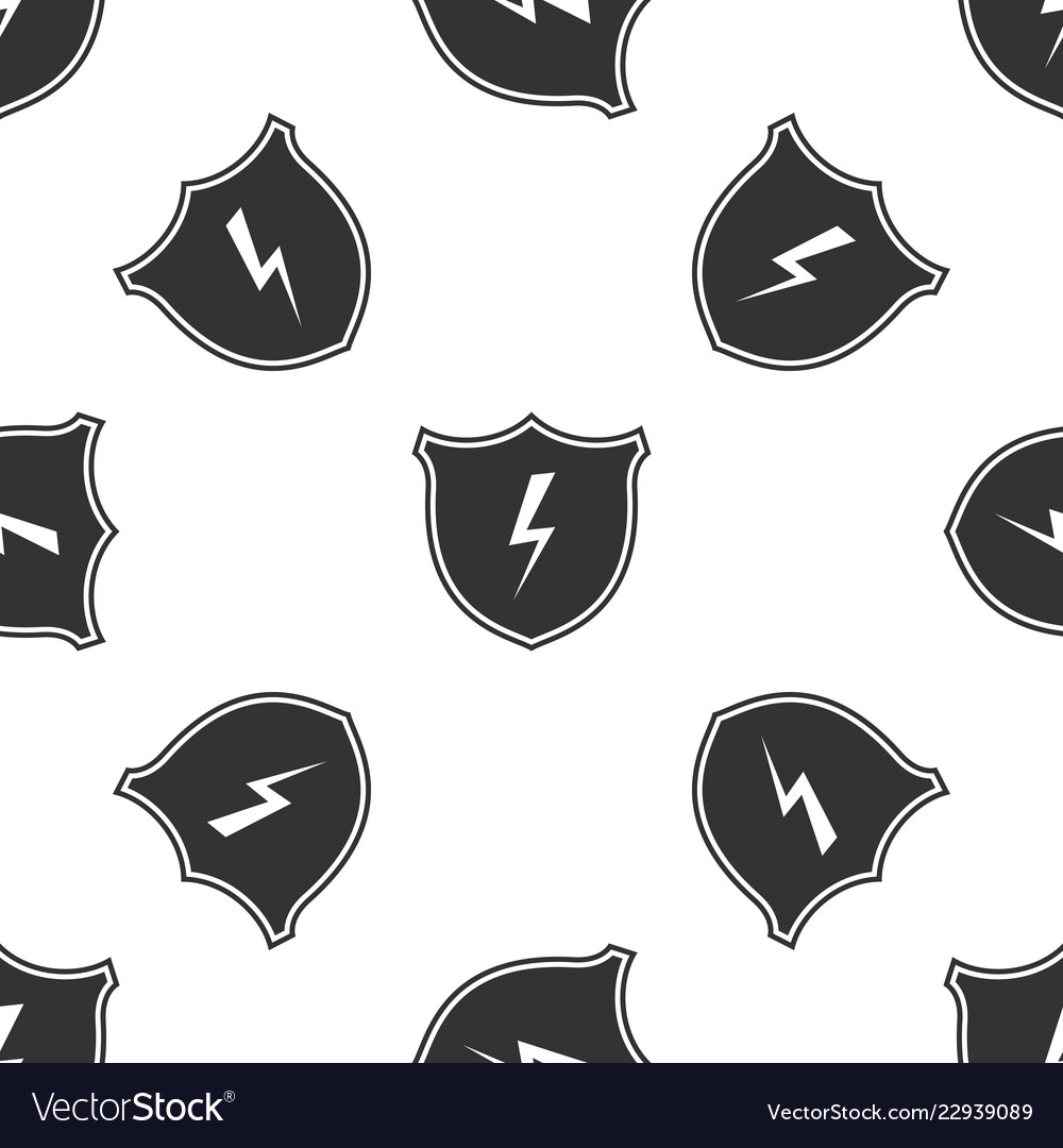 Secure shield with lightning icon seamless pattern