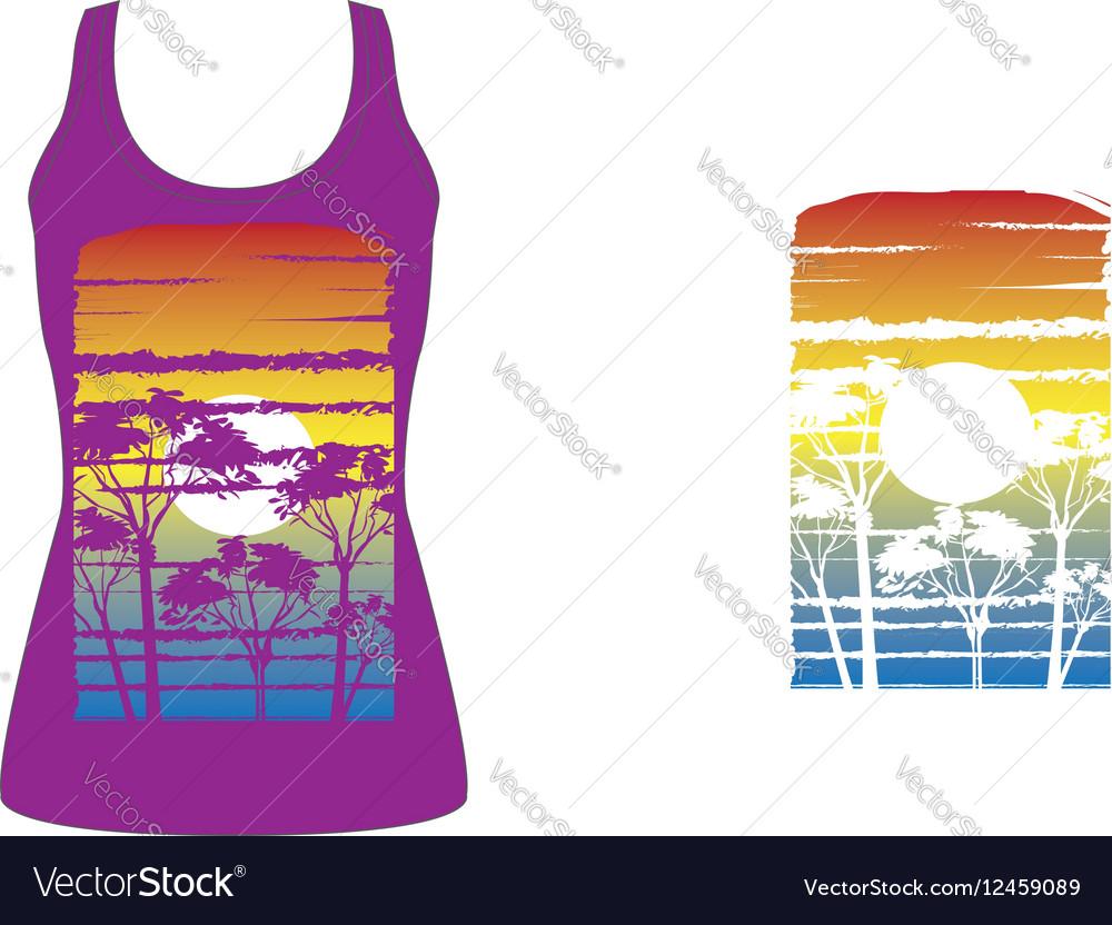 Tshirt artwork sunset trees