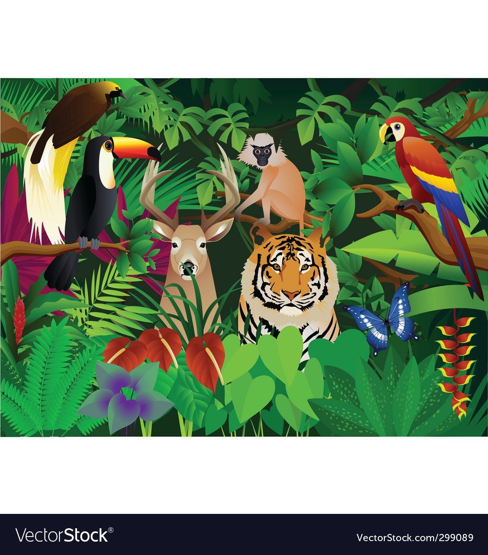 wild animal in the jungle royalty free vector image rh vectorstock com jungle vector free download jungle vector background