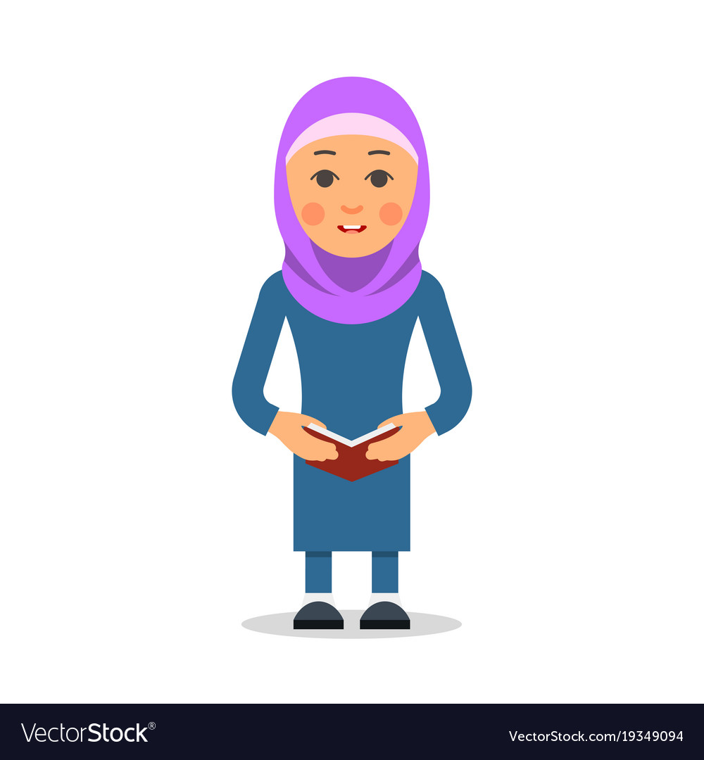 Arab or muslim student woman stand in the
