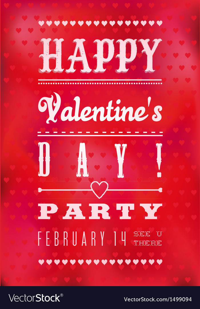 Colorful Happy Valentines Day Party Poster