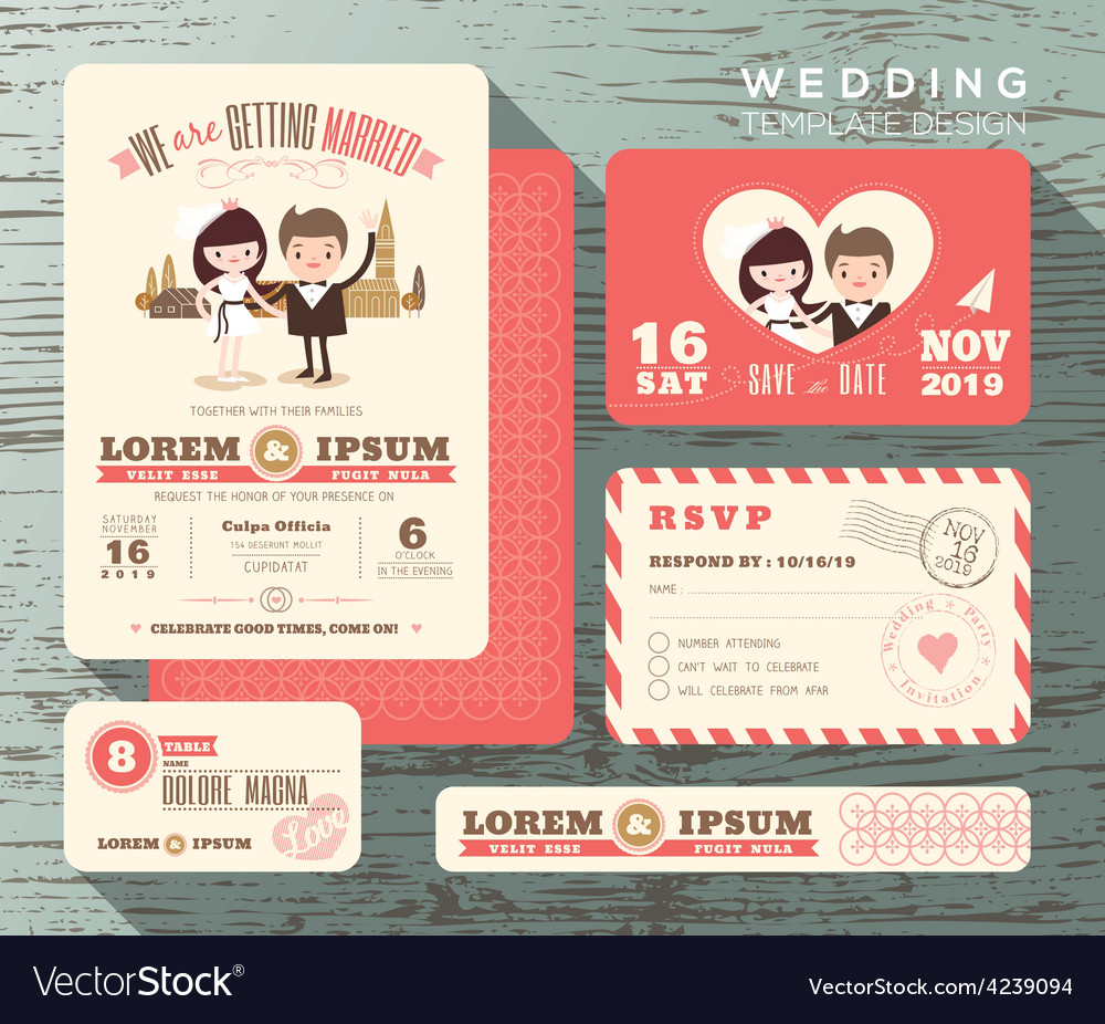 Cute groom and bride couple wedding invitation set