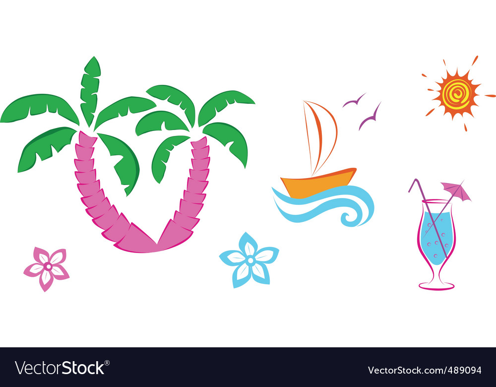 Cute summer icons vector image