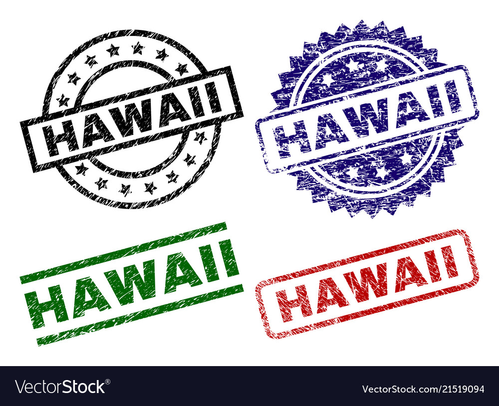 Damaged Textured Hawaii Stamp Seals Vector Image